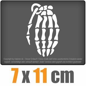 Huesos-esqueleto-granada-de-mano-6-x-11-cm-JDM-decal-sticker-blanco-discos-pegatinas
