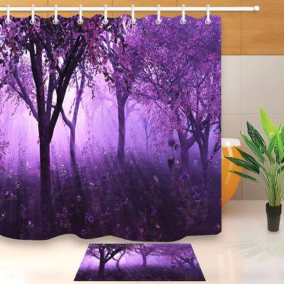 Wild Deer in Dreamy Misty Forest Bathroom Waterproof Fabric Shower Curtain 71*71