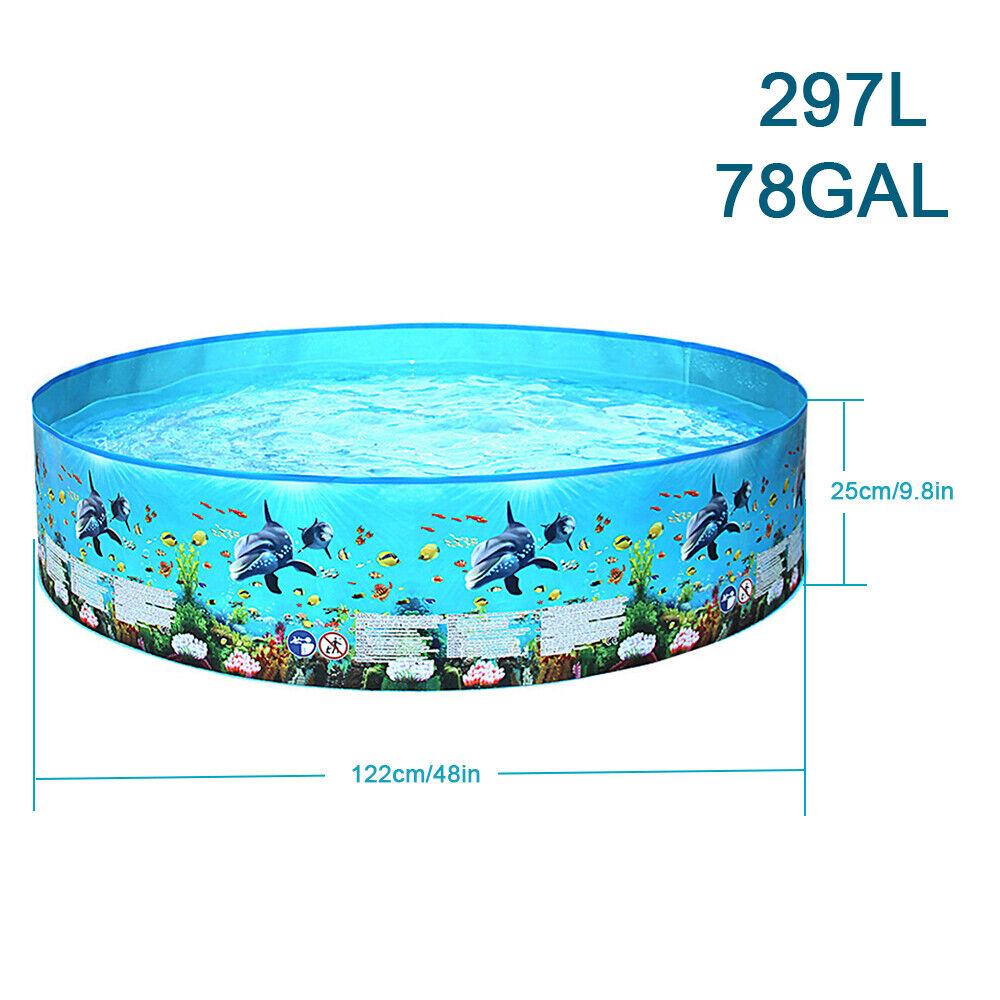 297L/ 78gallon Inflation-free Hard Plastic Swimming Pool Folding Pool WF O8E3