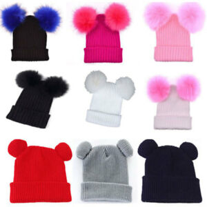 7a16da499c9 Details about Women s Winter Chunky Knit Beanie Hat with Double Faux Fur  Pom Pom Ears Lovely