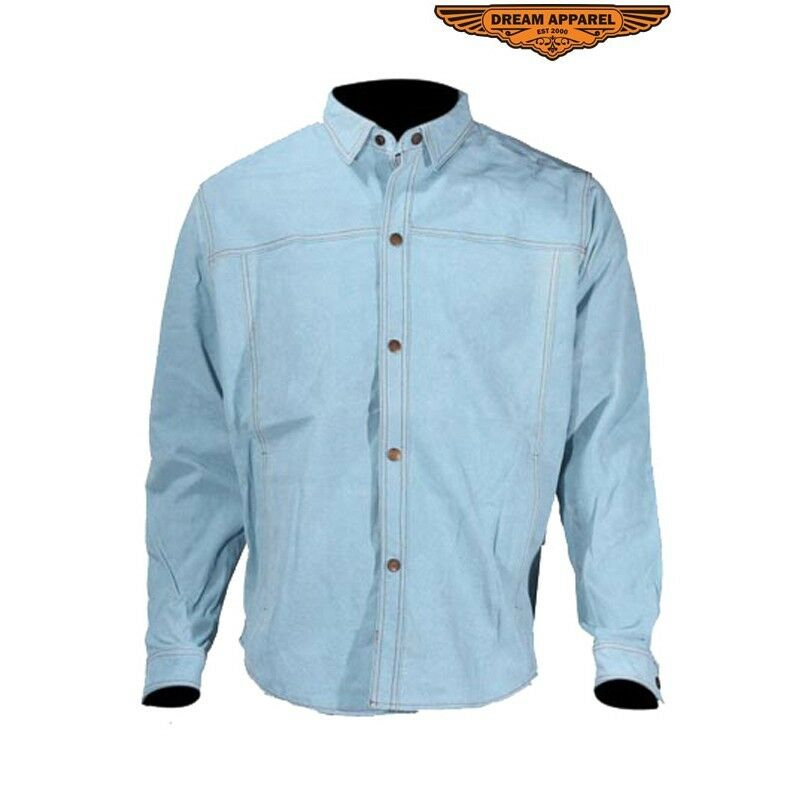 b91b46bf8 Mens Light bluee Leather With Look Of Denim Sizes Small 5 X To Shirt  nqsbir6557-Casual Shirts & Tops