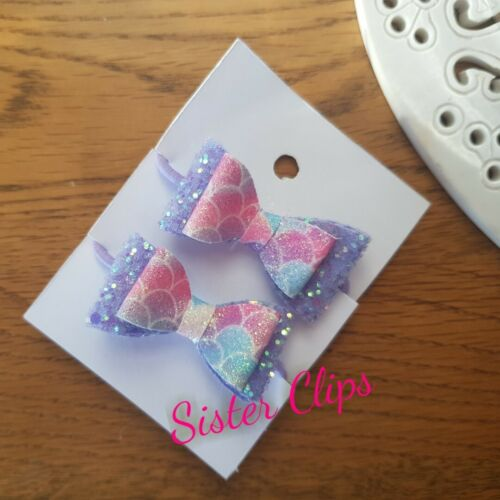 """pigtail 1.5/"""" bow hair bobbles lilac pink mermaid glitter Set of 2 toddler"""