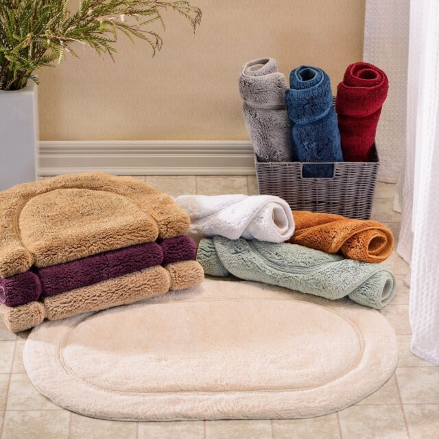 R Set Of 2 Oval Bathroom Rugs Choose Colors Sizes Plush Cotton Luxury Bath  Mat