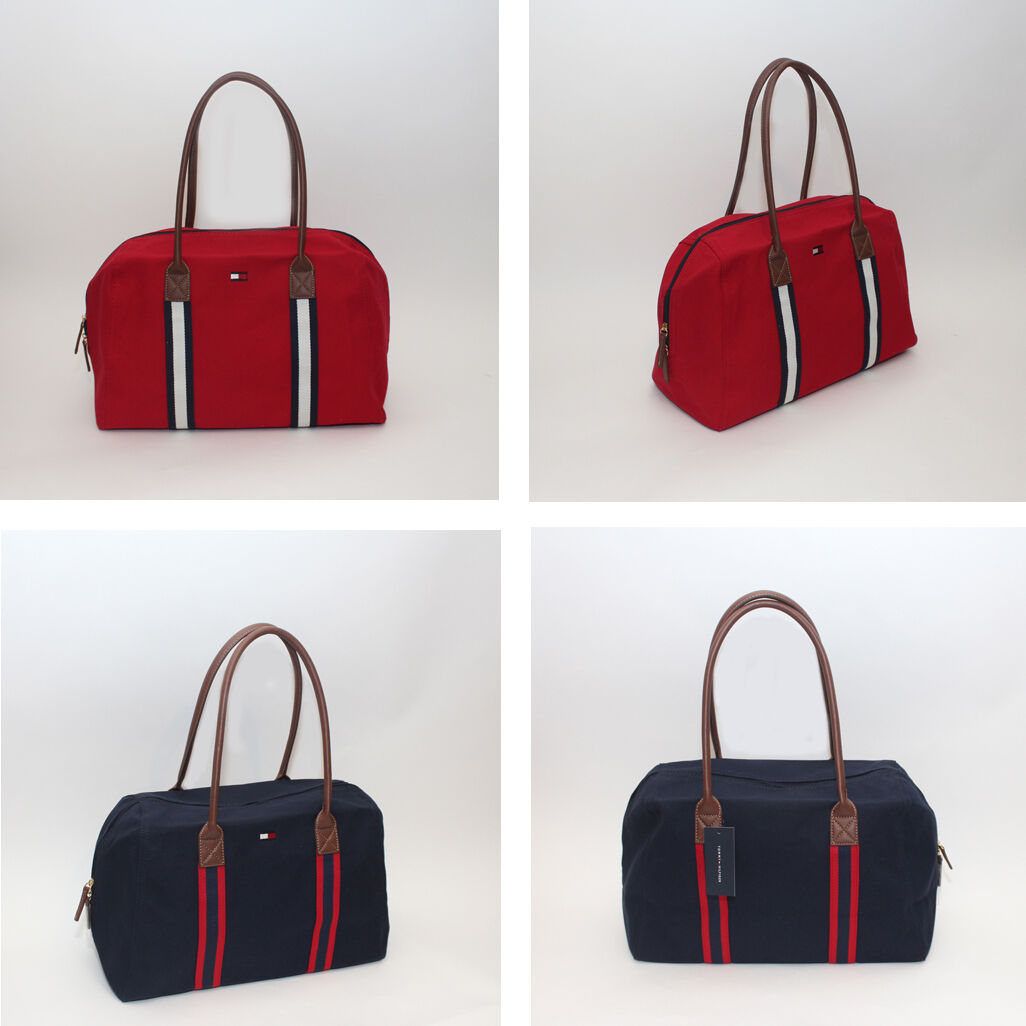 7b0cd54055758f Details about NEW Tommy Hilfiger Women s Convertible Weekender Weekend  Travel Tote Canvas Bag