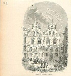 Musee-amp-la-Halle-aux-Viandes-a-Gand-Gent-GRAVURE-ANTIQUE-OLD-PRINT-1880