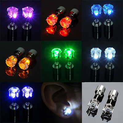 Color Led Earrings Light Up Glowing Studs Ear Ring Drop Crystal Dance Party Gift