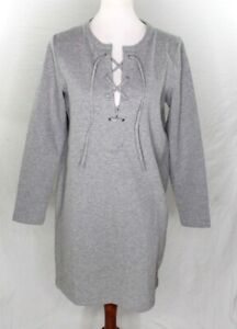 J-Crew-Mercantile-Womens-M-Dress-Lace-Up-Gray-heather-stretch-long-sleeve-shift