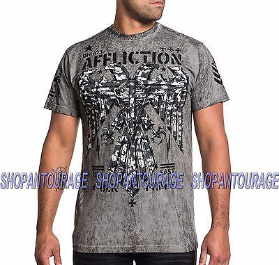 AFFLICTION AF Warhawk A15818 Men`s New Relax Fit Silver Grey Super T-shirt