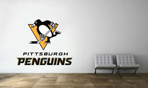 Image is loading Pittsburgh-Penguins-Logo-Wall-Decal-NHL-Hockey-Decor- & Pittsburgh Penguins Logo Wall Decal NHL Hockey Decor Sport Vinyl Art ...