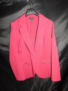 Torrid-3-3X-Red-Blazer-Jacket-One-Button-Zipper-Pockets-Stretch-Knit-Woman