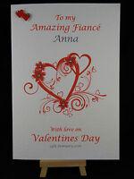 Personalised HandMade Valentines Day Card WIFE GIRLFRIEND FIANCEE HUSBAND