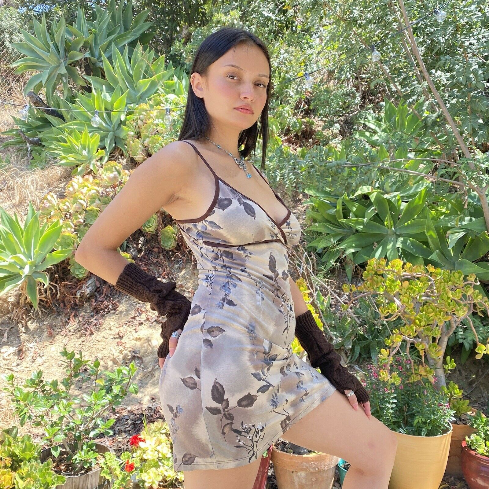 Vintage 90s Forever21 Chocolate Brown Spaghetti S… - image 7