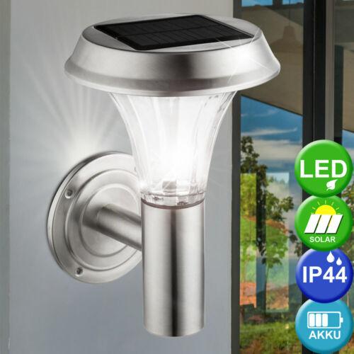 Solar LED Wand Lampe Edelstahl Strahler Haus Tür Beleuchtung Glas Leuchte Balkon