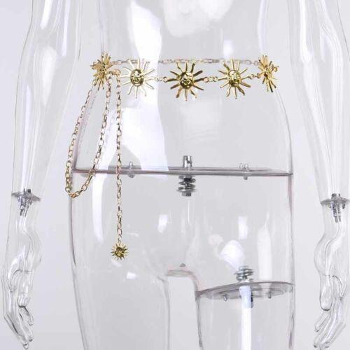 Women Gold Belts Vintage High Waist Chain Belts Sun Moon Witch Punk Metal Belts