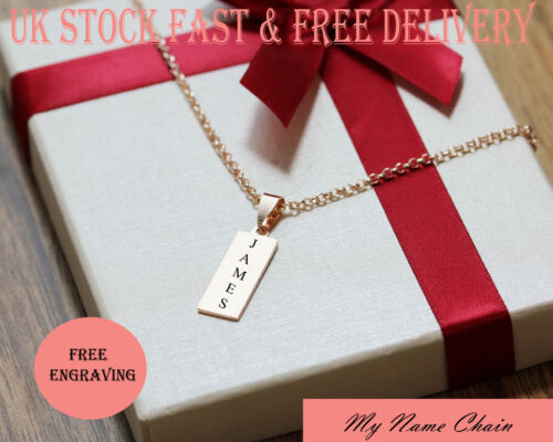 Personalised Rose Gold Bar Pendant Engraved Name Necklace Plated Chain Jewellery