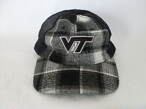 a71adcf5f7efd Image is loading Virginia-Tech-VT-Mesh-Snapback-Adjustable-Gray-Plaid-