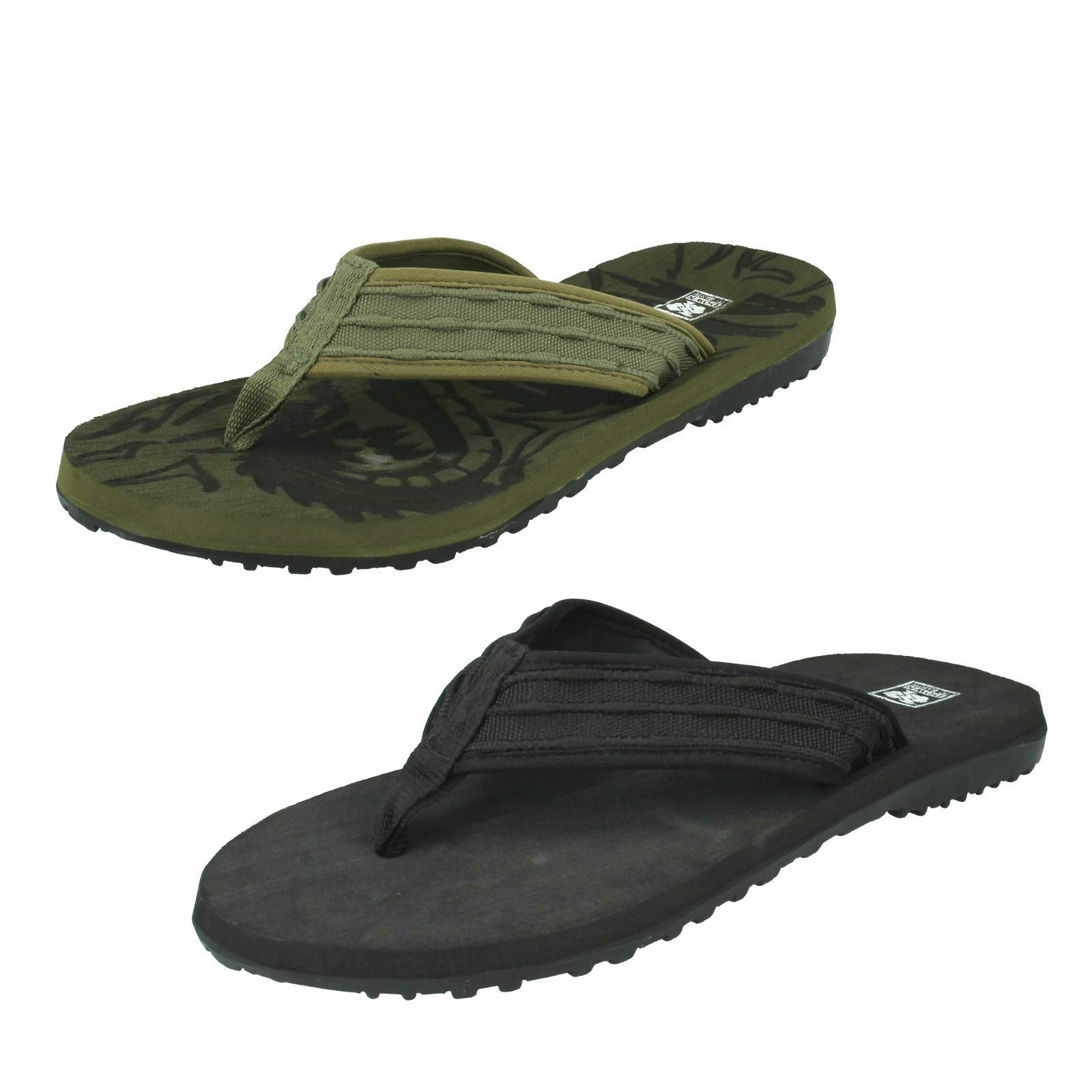 Hombre TEXTILE SLIP ON SUMMER TO FLIP FLOPS DOWN TO SUMMER EARTH A0043 271b1b