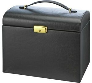Black-Faux-Leather-Large-Three-Drawer-Jewellery-Box