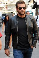 Stylish Bradley Cooper Fashionable Biker Real Leather Jacket-
