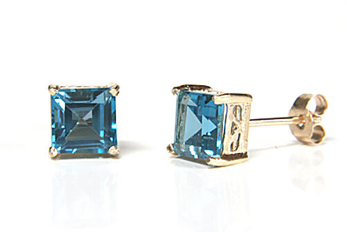 9ct gold London bluee Topaz Square Stud earrings Gift Boxed Made in UK