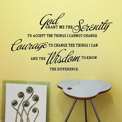 GOD GRANT ME THE SERENITY PRAYER BIBLE Art Quote Vinyl Wall Stickers Home Decal