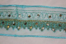 """1 yd Lt Turquoise Aqua GOLD Mesh embroidered non stretch ribbon trim 2.25"""" wide"""