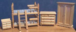 1-12-Dolls-House-miniatures-Furniture-Pine-Bunks-Bedroom-Set-LGW-Bunk-Beds-LGW