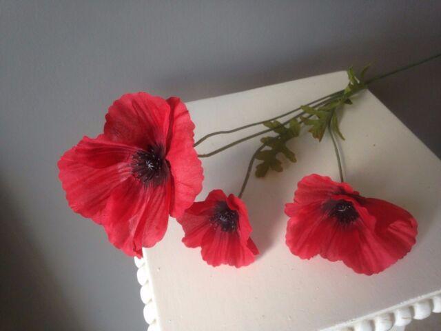 Artificial flame red poppy flower 63cm decorative plastic poppies 1 red artificial field meadow poppy1 stem 3 silk poppy heads 1 mightylinksfo