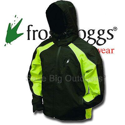 S Black & Hi Vis Green Frogg Toggs Kikker II Motorcycle Reflective Rain Jacket
