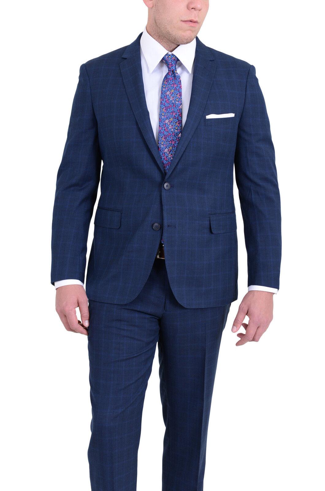Herren Slim Fit Blau Windowpane Two Button Wool Blend Suit