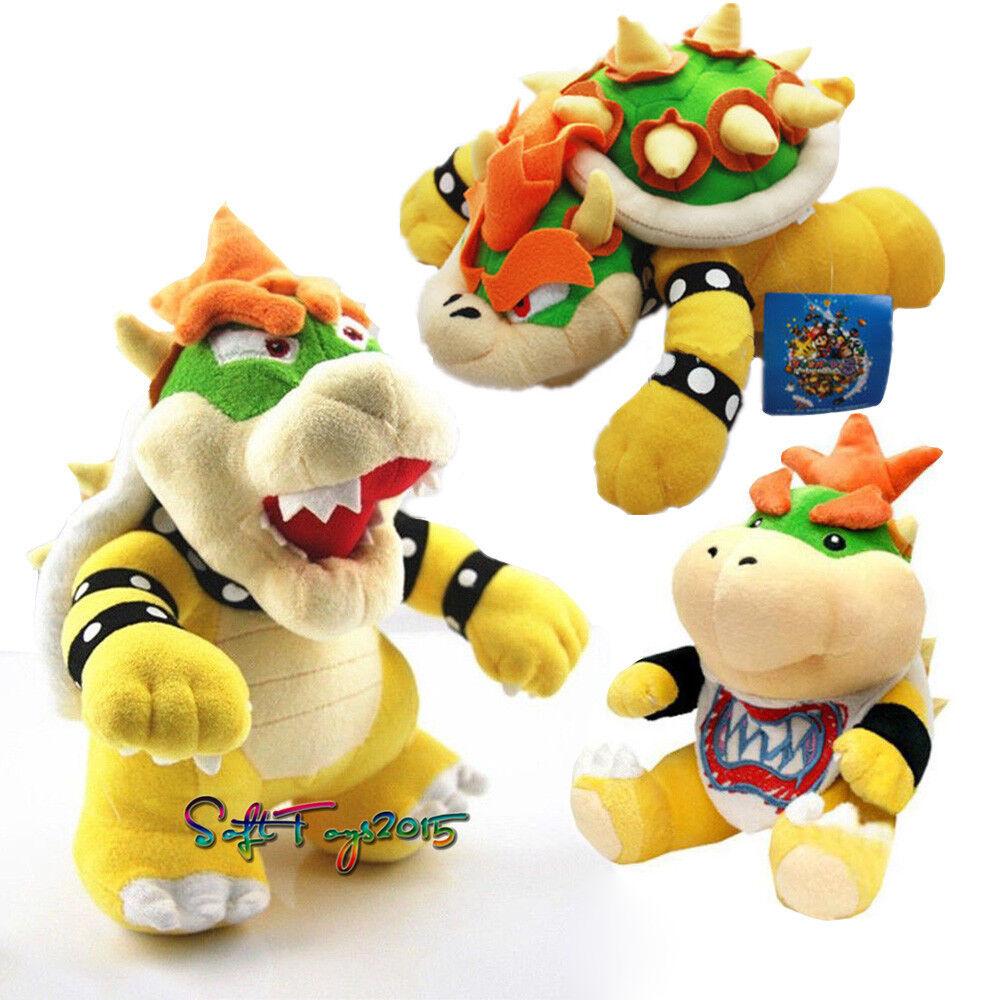 3X Super Mario Bros King Bowser Koopa Jr.  Stuffed Anime Plush Doll Xmas Gift