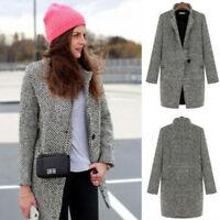 Fashion Women Winter Wool Lapel Long Coat Trench Parka Jacket Overcoat Outwear