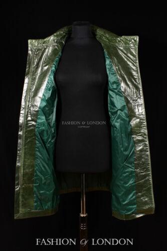 Ladies FIRENZE Trench Verde Di Marca Al Ginocchio Lunghi In Pelle Giacca Mac