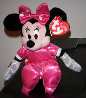 Ty Disney Minnie Mouse Pink Sparkle Dress Beanie Baby - Mint With Mint Tags