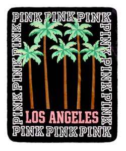 VICTORIAS SECRET PINK LOS ANGELES PALM TREE FLANNEL LINED SHERPA BLANKET 50x60