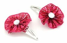 Zest 2 Sequinned Gem Centre Rosette Metal Sleepies Snap Hair Clip Slides Pink