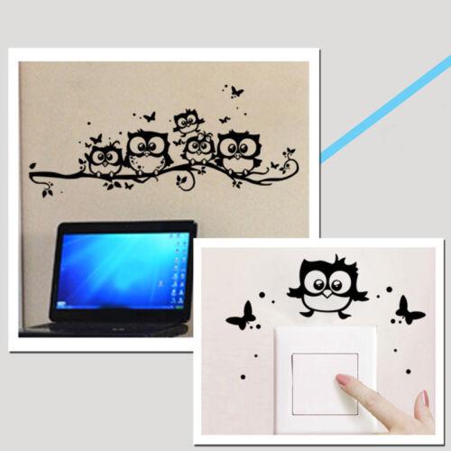 Cartoon Cute Owl Butterfly Wall Sticker Decor Home Kids Room Black Wall Paper US