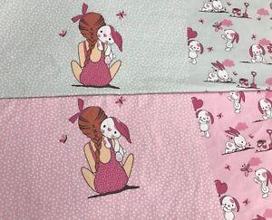 Jersey-EP-034-Knuddel-Buddel-Hase-Panel-60cm-034-rosa-Kinderstoff-Emmilove