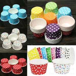 100x Colorful Wedding Cupcake Paper Muffin Cake Wrappers Wraps Cup Party Case