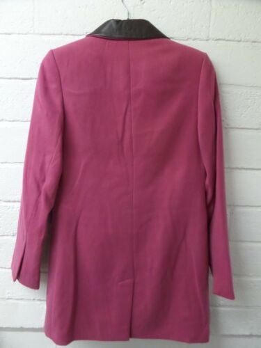 Womens Ladies New Mid Smart Pink Leather Trim Collared Coat UK 10-14