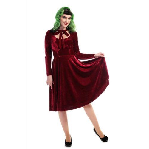 Collectif Vintage Red Velvet Holiday Swing Dress N