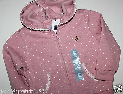 baby Gap NWT Girl 0 3 6 12 18 Mo Pink Dot Sweatshirt Fleece Zip Hoodie w Lace