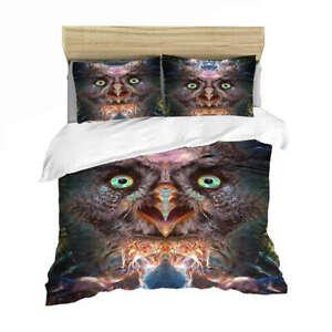 Three Owls Opened Their Eyes 3D Quilt Duvet Doona Cover Set Pillow case Print