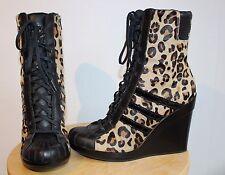 ADIDAS ORIGINALS X Jeremy Scott Leopard Pony Skin Wedge Boots Shoes Ladies US8.5