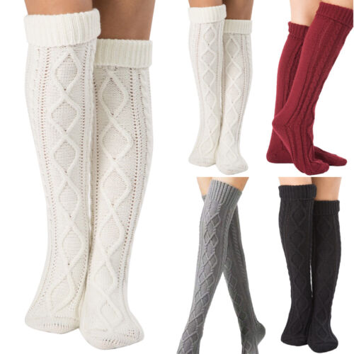 Details about  /Women Winter Warmer Cable Knit Over Knee Long Plain Thigh-High Socks Stocking