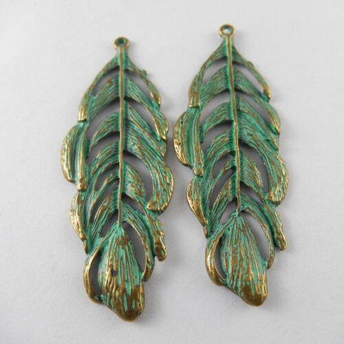 Bronce Verde 10 un 71*25*2mm Aleación Colgantes Encantos artesanías de plumas huecos 52017