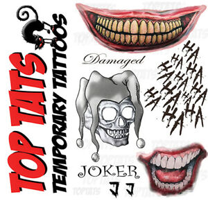 UK Joker Halloween Fancy Dress Temporary Tattoos Suicide Squad Costume Batman