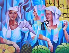 Lady Fruit Vendor 18x24 Art Philippines Oil Painting