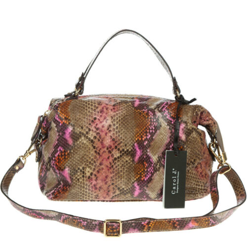 Made Natural Satchel Stamped Leather Designer J Python Small Italian Snake Carol pSMVUz