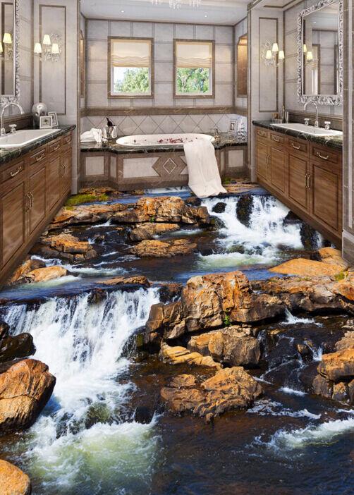 3D braun Steine, Wasser 668 Fototapeten Wandbild Fototapete BildTapete FamilieDE